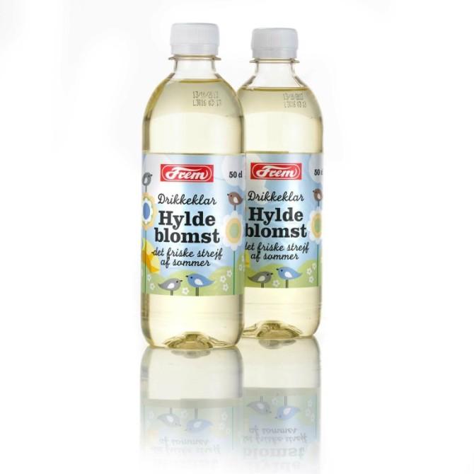 Emballagedesign til drikkeklar Hyldeblomst saft  – Frem Vand