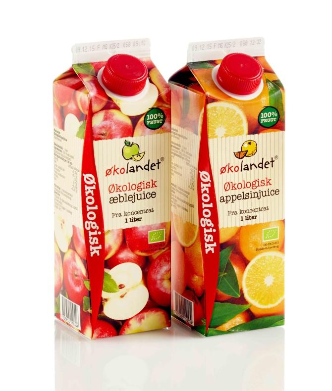 Emballagedesigntil Økolandet økologisk AppelsinJuice  – Falengreen