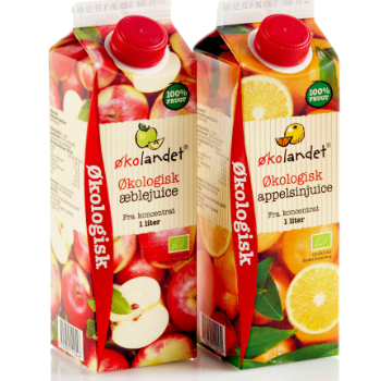 Emballagedesigntil Økolandet økologisk AppelsinJuice for Falengreen af Pack Design