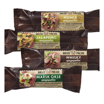 Emballagedesign til Gourmet serien fra Højer Pølser
