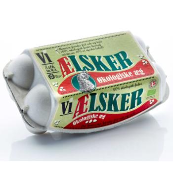 Emballagedesign til Vi ælsker øko plus æg fra Hedegaard