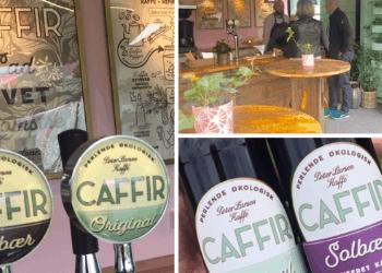 Emballagedesign, logo og univers til økologisk Caffir. En fermenteret kaffe læskedrik fra Peter Larsen Kaffe